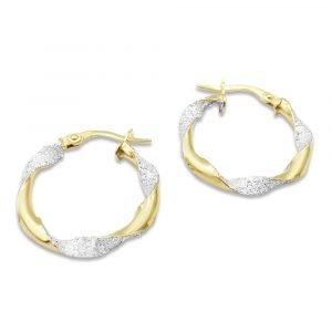 9ct Gold Glitter Hoops Earrings 20mm