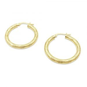 9ct Gold Zebra Hoops 3mm Earrings