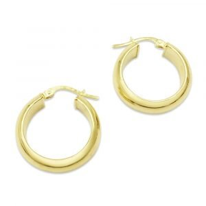 Gold Wedding Band Hoop Earrings 9ct