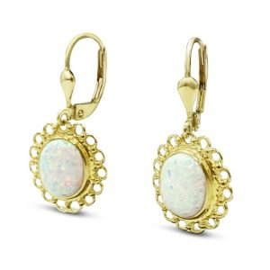 Created Opal Drop Earrings 9ct gold