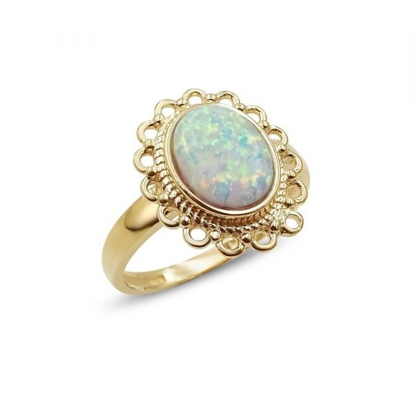 Rose Gold Created Opal Ladies Ring