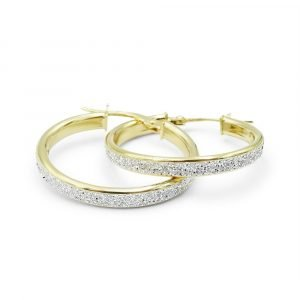 9ct Sparkle Dust Hoops Earrings 23mm
