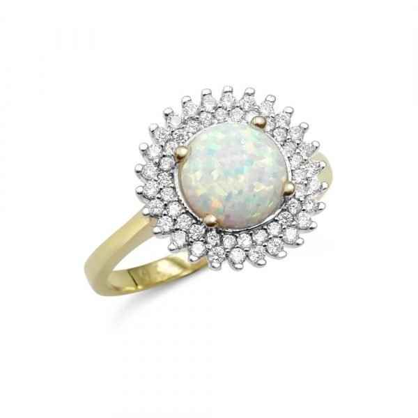 Created Opal Ring 9ct Gold and Cubic Zirconia