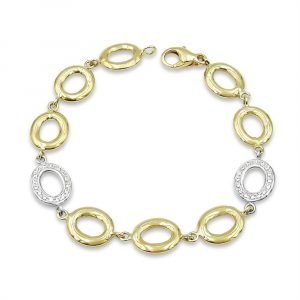 9ct Gold Oval Linked Ladies Bracelet