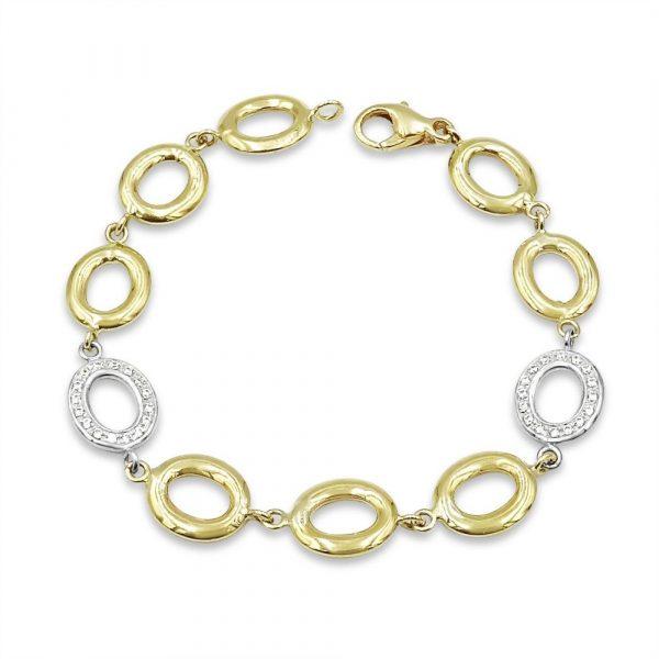 9ct Gold Oval Linked Ladies Bracelet