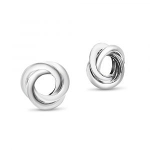 9ct White Gold Studs Fancy Knot
