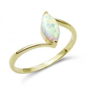 Created Opal Marquise Ring 9ct Gold Cubic Zirconia