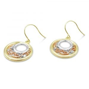 Gold Multi Colour Earrings Circular 9ct Gold