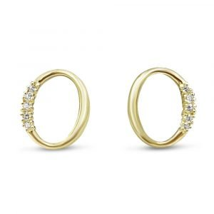 9ct Gold Oval Earrings Set With Cubic Zirconia
