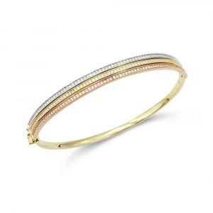 9ct Three Colour Bangle Ladies Gold
