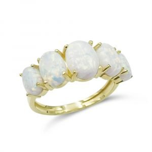 Created Opal Eternity Ring 9ct Gold