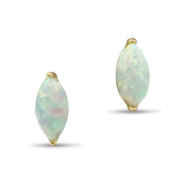 Created Opal Marquise Earrings 9ct Gold