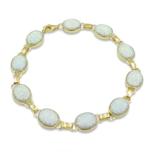 Created Opal 9ct Gold Large Stones Bracelet