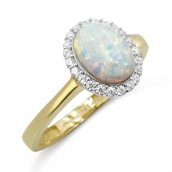 9ct Created Opal Gold Cluster Ring