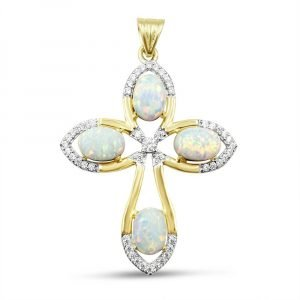 Created Opal Gold Cross For Ladies