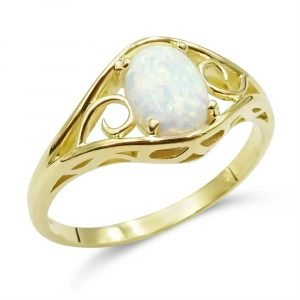 Created Opal Oval Ring 9ct gold