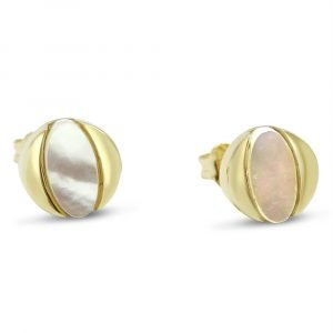 Mother Of Pearl Gold Stud Earrings 9ct