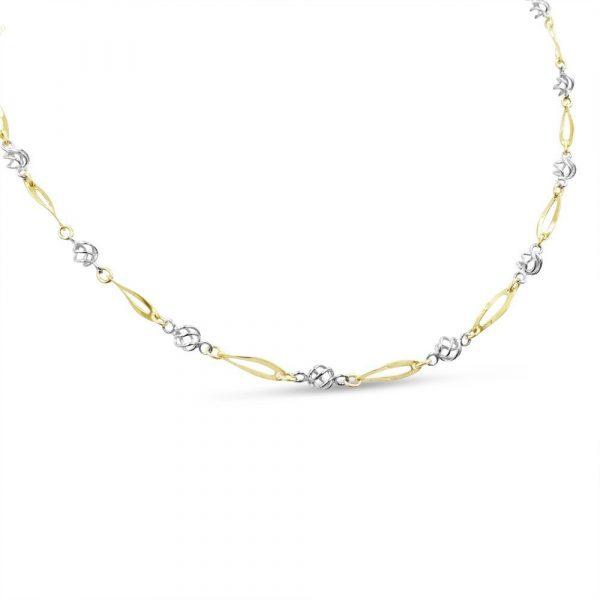 "9ct Gold Multi Tone Fancy Necklace 16"""