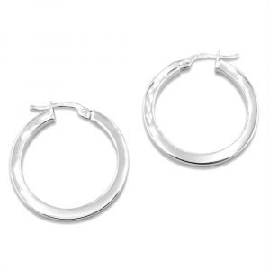 White Gold Hoop Earrings For Ladies 25mm
