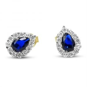 9ct Gold Blue Cubic Zirconia Stud Earrings