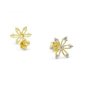 9ct Flower Gold Cubic Zirconia Earrings For Ladies