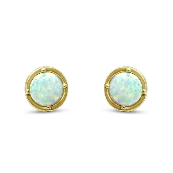 9ct Created Opal Stud Round Earrings