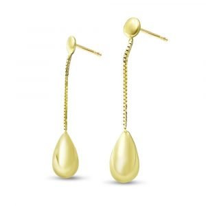 9ct Bombe Gold Drop Earring Studs