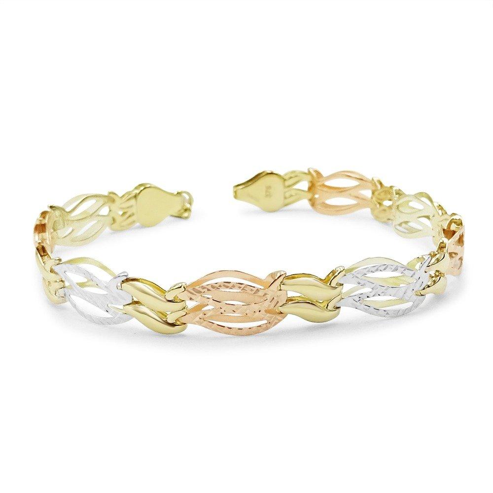 Three Colour Gold Bracelet 9ct For Ladies
