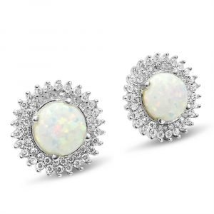 Created Opal Gold Stud Earrings CZ