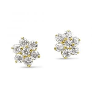 9ct Cluster Gold Stud Earrings For Ladies