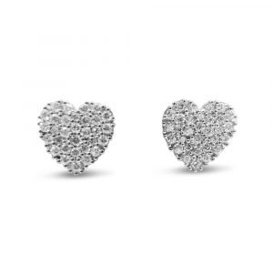 9ct Large Heart Studs CZ Womens 13mm