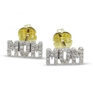 9ct MUM CZ Earrings Gold Small Screw Back