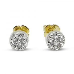 9ct Gold Earrings Cubic Zirconia Screw Back