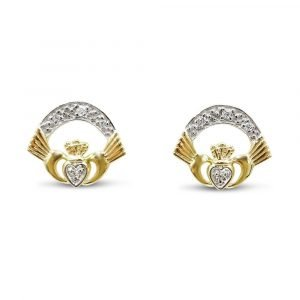 Gold Claddagh Earrings 9ct For Ladies