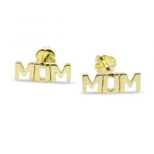 MUM Letter Gold Studs 9ct Screw Backs