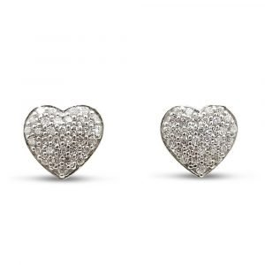 Gold Heart Earrings 9ct Cubic Zirconia Screw Backs