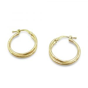 9ct Gold Twist Hoop Earrings 19mm