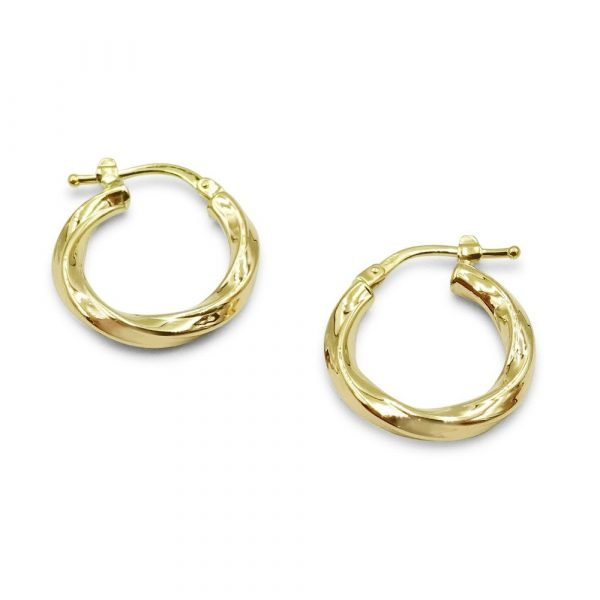 9ct Gold Creole Earrings Small 17mm