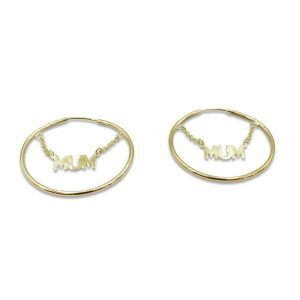 Mum Earrings 9ct Gold Sleepers 32mm