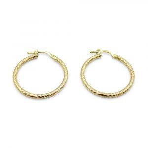 9ct Gold Patterned Hoops Earrings 24mm