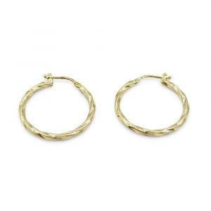 9ct Gold Millgrain Hoop Earrings 25mm