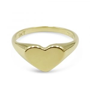 9ct Gold Heart Signet Ring Child Ladies Small