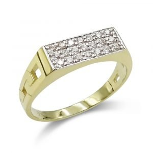 Rectangle Cluster Gold Ring For Children 9ct