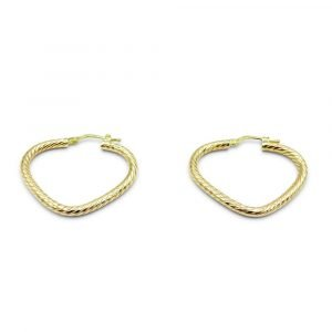 9ct Patterned V Hoop Gold Earrings