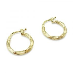9ct Small Twist Creole Hoop Earrings