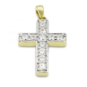 Gold Cross Pendant Small Cubic Zirconia 9ct