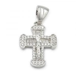 White Gold Crucifix Dante Ladies 9ct