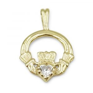 9ct CZ Claddagh Pendant Small