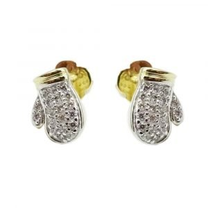 Gold Boxing Gloves 9ct CZ Small