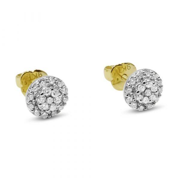 Diamond Cluster Round Studs Earrings